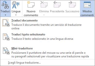 Strumenti di traduzione disponibili nelle applicazioni di Office