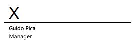 Riga della firma in Word con una X che indica il punto in cui firmare