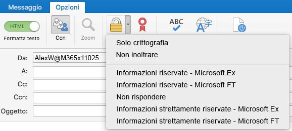 Nuova opzione Crittografa con il supporto per Office 365 Message Encryption, Non inoltrare e modelli IRM