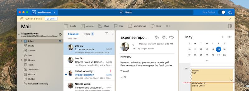 Avviso messaggio Outlook è offline.