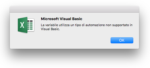 Errore di Microsoft Visual Basic: Gli usi delle variabili e il tipo di automazione non sono supportati in Visual Basic._C3_2017109141134