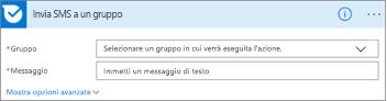 Screenshot: Immettere il nome del gruppo e il messaggio da inviare