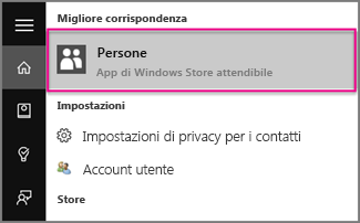 Digitare Contatti in Windows 10