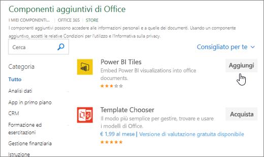 Screenshot della pagina dei componenti aggiuntivi per Office in cui è possibile selezionare o cercare un componente aggiuntivo per Excel.