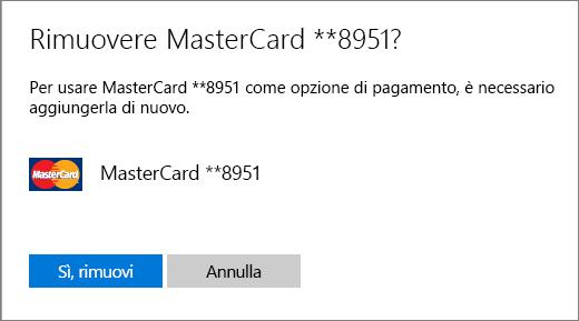 Pagina di verifica per la rimozione di una carta di credito.
