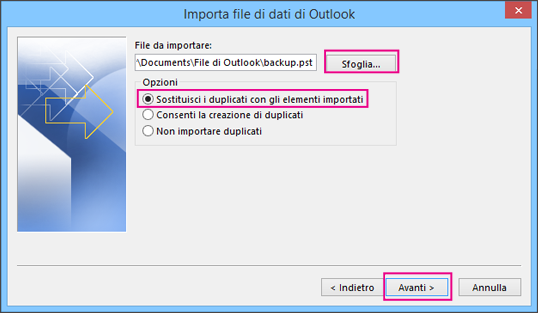 Scegliere il file PST da importare.