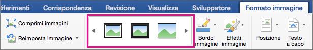 Raccolta di bordi immagine evidenziata nella scheda Formato immagine.