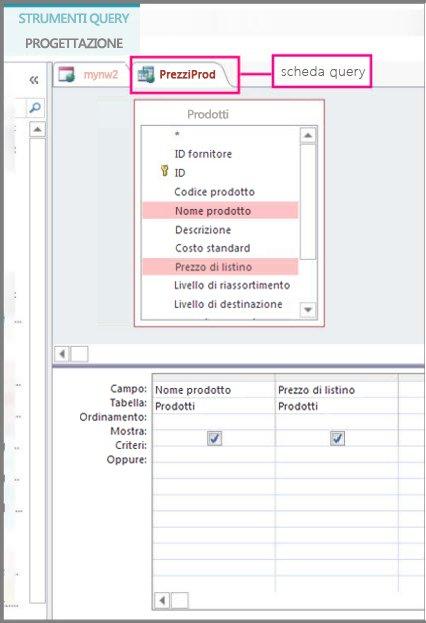 Struttura query con tabella query evidenziata