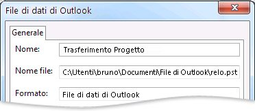 Finestra di dialogo File di dati di Outlook