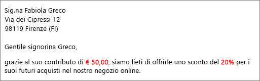 Documento di stampa risultante che indica che la donazione è stata di € 50,00 e viene offerto uno sconto del 20%.