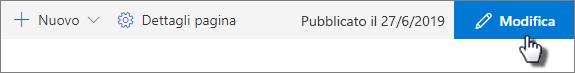 Pulsante modifica nella barra superiore della pagina