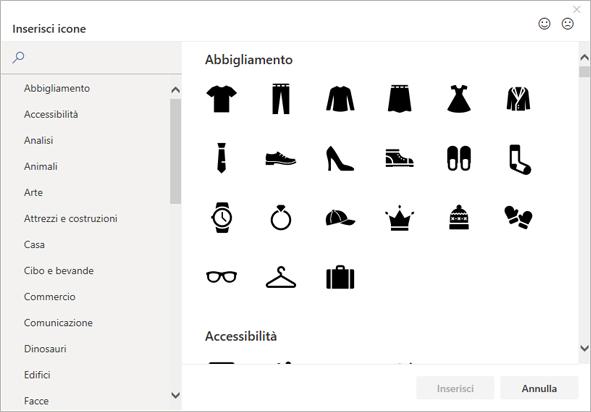 Si può scegliere un'icona da inserire dalla raccolta di icone di Office