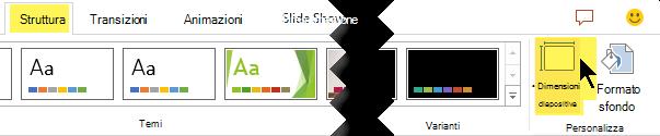 Il pulsante dimensioni diapositiva si trova all'estrema destra della scheda Progettazione della barra degli strumenti