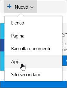 Menu Nuovo di Contenuto del sito con App evidenziato