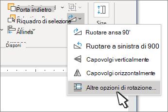 Menu rotazione con altre opzioni di rotazione selezionate