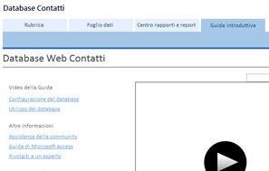 Schermata introduttiva del modello di database per i contatti