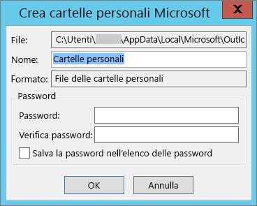 Se non si vuole proteggere il file PST con una password, scegliere OK.