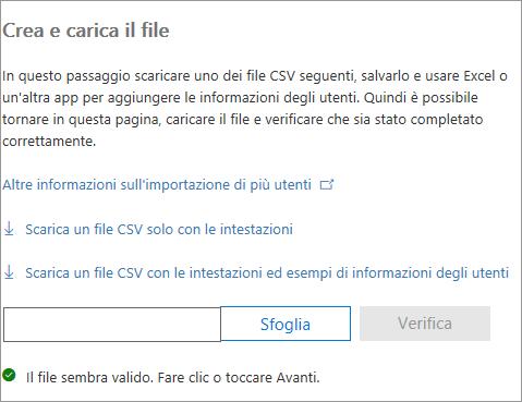 Il file CSV viene verificato