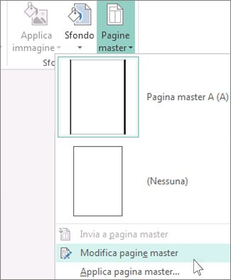 Screenshot dell'elenco a discesa Modifica pagine master in Publisher.