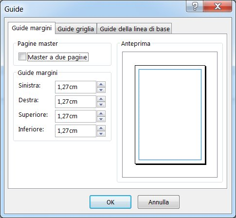 Finestra di dialogo Guide di Publisher