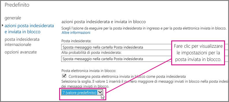Impostare il filtro posta inviata in blocco in Exchange Online