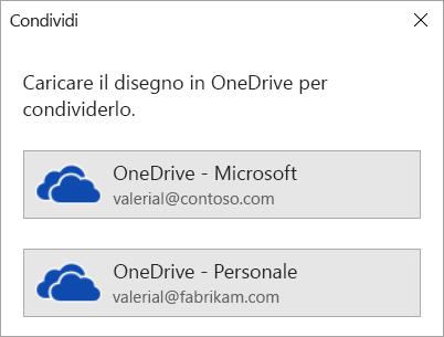 Se il disegno non è stato ancora salvato in OneDrive o in SharePoint, Visio chiede di salvarlo.