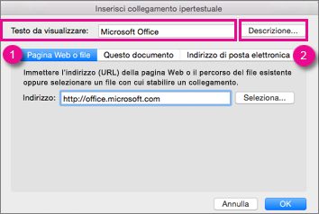Finestra di dialogo Collegamento ipertestuale in Office per Mac