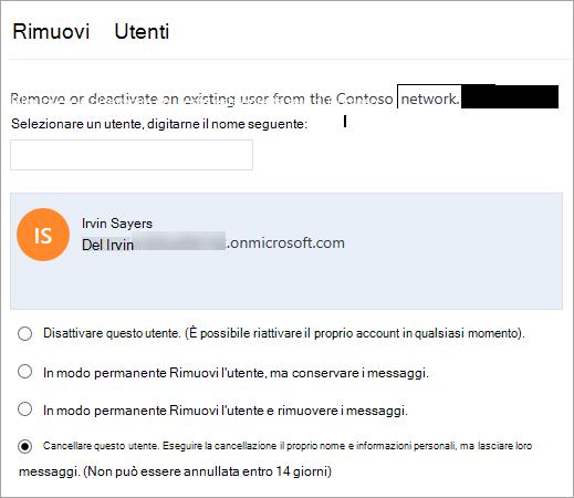 Dopo aver selezionato un nome, vengono visualizzate le opzioni di Rimuovi utente.