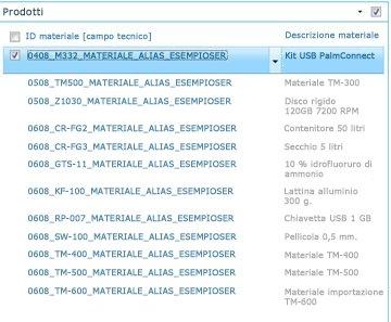 Nel sito Prodotti viene visualizzato un elenco dei prodotti nella raccolta SAP.