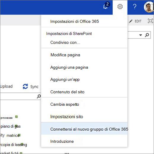 Questa immagine mostra il menu dell'icona a forma di ingranaggio e connettere selezionato al nuovo gruppo di Office 365.