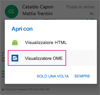 Visualizzatore OME con Outlook per Android 2
