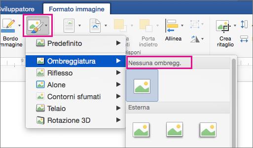 Opzione Effetti immagine evidenziata nella scheda Formato immagine.