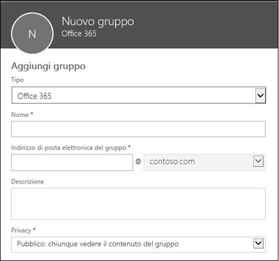 Creare un nuovo gruppo di Office 365, una nuova lista di distribuzione o un nuovo gruppo di sicurezza