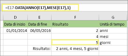 """=DATA.DIFF(D17,E17,""""dm"""") e risultato: 5"""