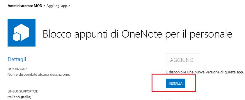 Screenshot della finestra di dialogo di aggiornamento per l'app Blocco appunti di OneNote per personale
