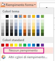 Nel menu Riempimento forma selezionare Nessun riempimento.