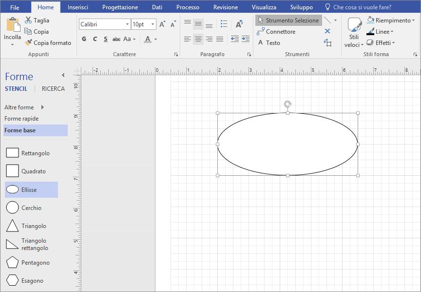 Trascinare una forma dalla finestra Forme base nella pagina di disegno.