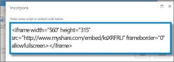 Schermata del codice di incorporamento <iframe> di un video copiato da un sito di condivisione video. Il codice incorporato è fittizio.