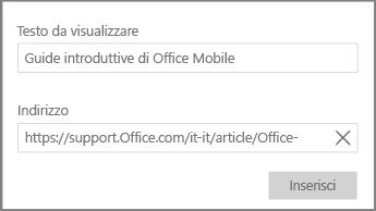 Screenshot della finestra di dialogo per l'aggiunta di un collegamento ipertestuale in OneNote per Windows 10.