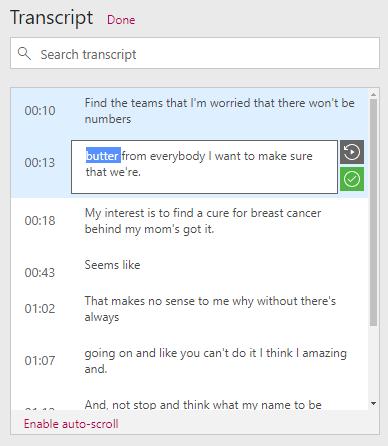 Esempio di modifica della trascrizione