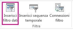pulsante inserisci filtro dati nella scheda analizza