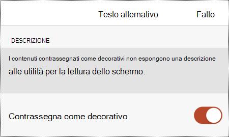 Opzione Contrassegna come decorativa selezionata nella finestra di dialogo Testo alternativo in PowerPoint per iOS.