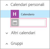 Aggiungere un nome per un nuovo calendario