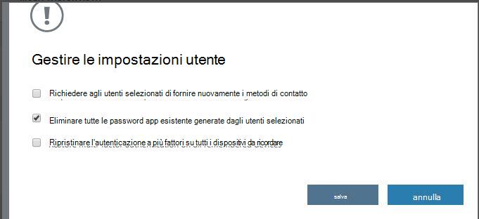 Eliminare le password app