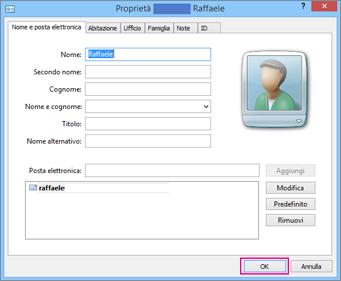 Scegliere OK per ogni contatto da importare nel file CSV.
