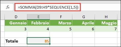 Usare le costanti di matrice nelle formule. In questo esempio abbiamo usato = SUM (D9: H (* SEQUENCE (1; 5))