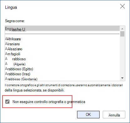 Disattivazione del controllo ortografia automatico