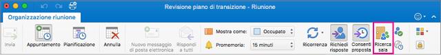Barra multifunzione di Outlook con il pulsante Ricerca sala evidenziato