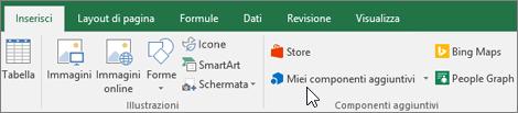 Nella scheda Inserisci della barra multifunzione è disponibile il gruppo Componenti aggiuntivi per la gestione dei componenti aggiuntivi di Excel