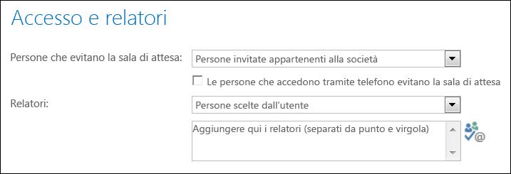 Schermata della finestra di dialogo Accesso e relatori